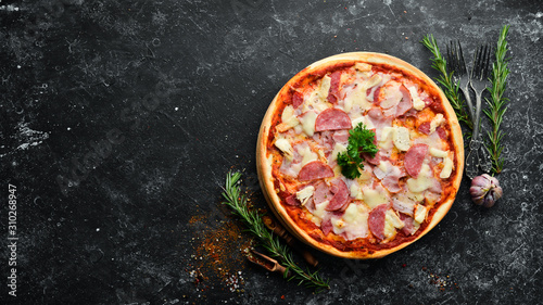 Homemade pizza with bacon, chicken and salami sausage Wallpaper Mural