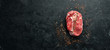 canvas print picture - Raw marbled meat Steak Ribeye Black Angus. Top view. free space for your text. Rustic style.