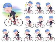 No Face Blond Hair Suit Man_road Bike