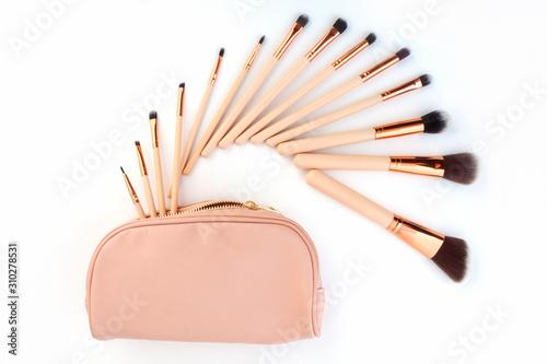 set of make-up brushes, shot on white background grouped together