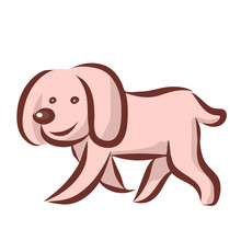 Funny Dog ​​cocker Spaniel. Walks Down The Street And Smiles. Cartoon Vector Illustration. Isolated Outline Drawing.