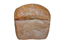 A Small Loaf Of Brown Bread Isolated On A White Background. Bread Baked At Home.