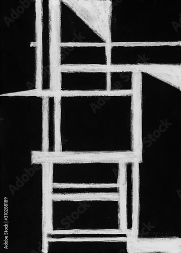 A grungy monochrome painting; white on black. Wallpaper Mural