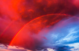 Fototapeta Tęcza - Sunset sky and rainbow