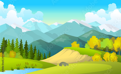 Fototapeta Vector illustration of beautiful summer fields landscape with a dawn, green hills, bright color blue sky, country background in flat cartoon style banner obraz