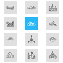 Vector Illustration Of 12 Culture Icons Line Style. Editable Set Of Newgrange, Oxford University, Stonehenge And Other Icon Elements.