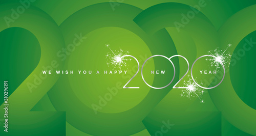Fototapety, obrazy: We wish You Happy New Year 2020 silver modern design light typography numbers green greeting card