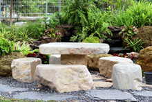 Marble Stone Bench Set In The Garden. Stone Furniture.