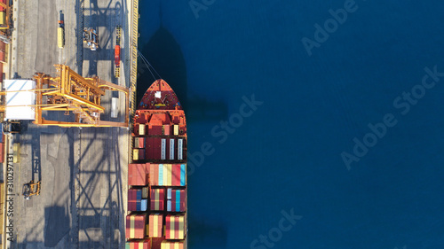 Fotomural Aerial drone top down photo of industrial cargo container tanker ship carrier do