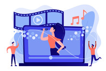 Huge Laptop With Famous Singer Performing On Screen And Tiny People Dancing. Music Video, Official Music Video, Video Clip Production Concept. Pinkish Coral Bluevector Isolated Illustration