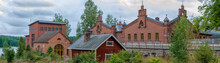 Panorama Of Old Paper Mill Buildings Of Red Brick At Overcast Autumn Day. Verla Groundwood And Board Mill - Museum. Finland