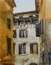Verona Windows Original Watercolor Illustration, Architecture Italian Painting
