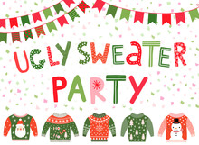 Vector Ugly Sweater Party Banner, Poster Or Invitation For Christmas Holiday Celebrations