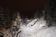 Frozen Snowy Spillway River Of Hydroelectric Dam