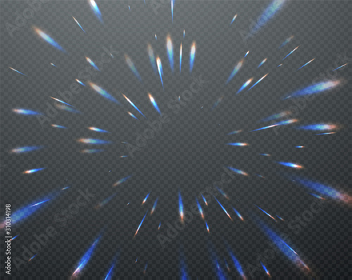 Photo Holographic transparent reflections flare isolated on transparent dark background