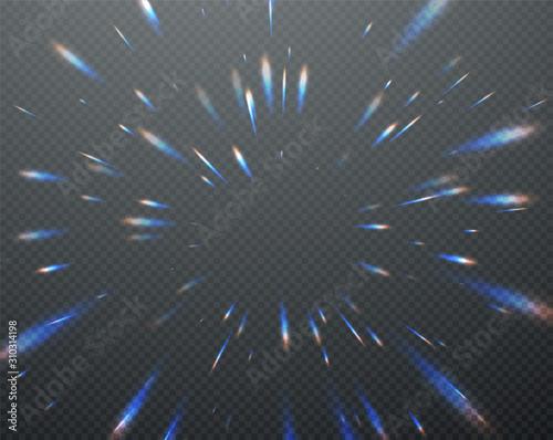 Slika na platnu Holographic transparent reflections flare isolated on transparent dark background