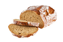 Loaf Of Rye Bread Sliced Isolated On White Background