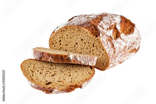 Fotografie, Obraz loaf of rye bread sliced isolated on white background