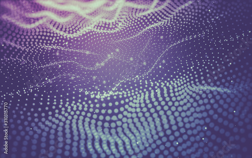 Abstract background. Molecules technology with polygonal shapes, connecting dots and lines. Connection structure. Big data visualization. - 310315770