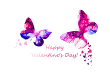 Watercolor Butterflies And Hearts. Happy Valentine's Day. Mixed Media. Vector Illustration