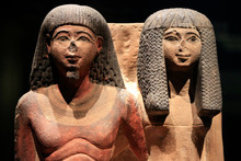 Group A Statues Of A Egyptian Priest And His Wife