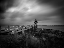 Long Black And White Exposure Of The Marshall Point Lighthouse