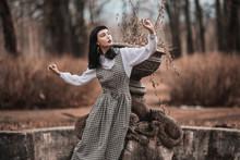 Gothic Brunette Model In Dress...