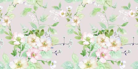 Fototapeta Drzewa Combination of watercolor flower elements