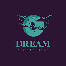 Dream Logo Iconic. Child Play Swing In The Moon. Branding For Creative, Film, Movie Maker, Child And Kids, Advertising, Social, Playground, Etc. Isolated Logo Vector Inspiration. Graphic Designs