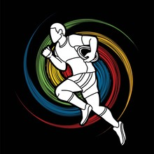 Rugby Player Action Cartoon Sp...