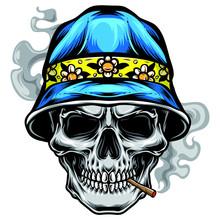 Skull With Bucket Hat Vector