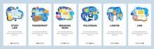 Mobile App Onboarding Screens. Crime And Justice, Fingerprint Evidence, Police And Lawyer, Law Books. Menu Vector Banner Template For Website And Mobile Development. Web Site Design Flat Illustration