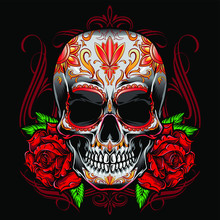 Sugarskull Vector With Roses O...