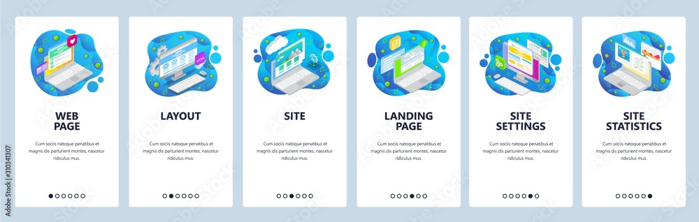 Mobile app onboarding screens. Landing page and wireframe layout, statistics chart, isometric laptop. Menu vector banner template for website and mobile development. Web site design flat illustration