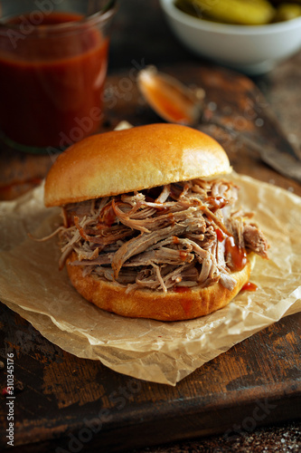 Pulled pork sandwich with brioche buns and pickles Canvas Print