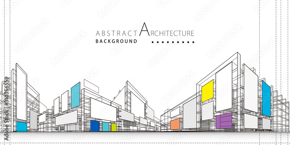Fototapeta 3D illustration architecture building construction perspective design,abstract modern urban background.