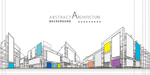 3D illustration architecture building construction perspective design,abstract modern urban background.