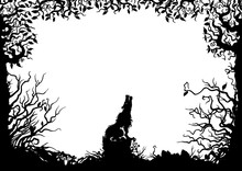 Lone Wolf In The Forest Frame/ Illustration Horizontal Frame With A Wolf, Stub, Snag, Trees, Shrubs, Silhouettes
