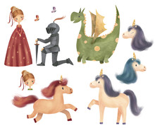 Set Of Cute Characters - Princess, Knight, Dragon, Unicorn And Butterfly. Hand Drawn Illustration.