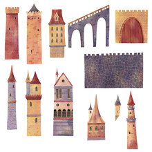Set Of Medieval Towers, Castle...