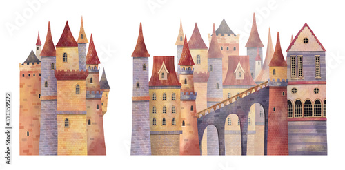 Set of medieval castles with towers and bridge Tableau sur Toile