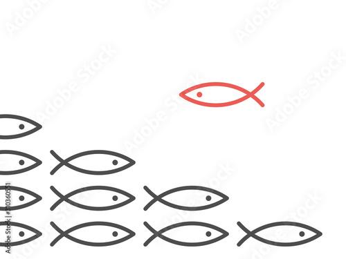 Fotografie, Obraz Unique fish against shoal