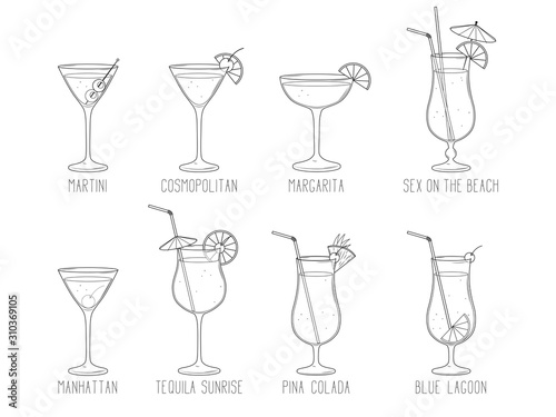 Canvas-taulu Alcoholic cocktail collection - blue lagoon, manhattan, martini, tequila sunrise, pina colada, margarita, sex on the beach, cosmopolitan isolated on white background