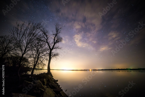 milky way on the lake Fototapet