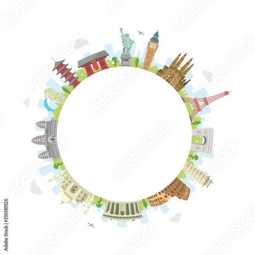 Billede på lærred world travel circular vector illustration ( world famous buildings / world herit