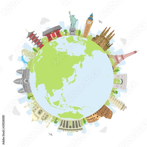 world travel circular vector illustration ( world famous buildings / world herit Wallpaper Mural