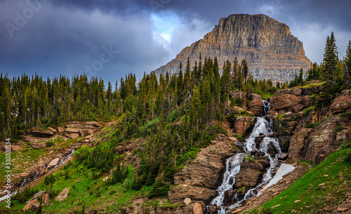 Vászonkép Oberlin Falls on the Going-to-the-Sun Road in Glacier National Park
