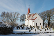 Church And Cemetery In Winter
