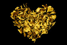 Golden Heart Made Of Flower Pe...