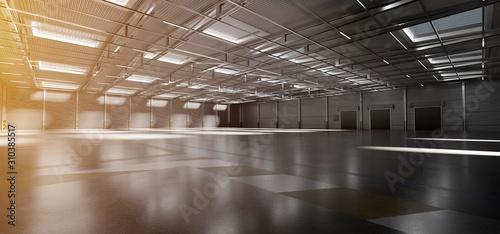 Fotografía  Warehouse goods stock background 3d rendering